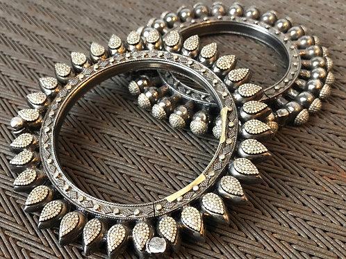Spiky Diamond & Silver Bangle