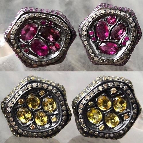 Pink & Yellow Sapphire Diamond earring