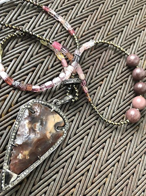 ARROWHEAD with diamonds & pyrite necklace
