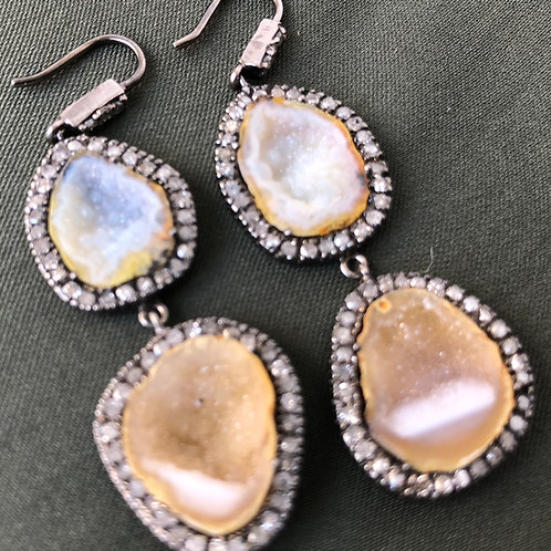 Diamond Geode Silver Earrings