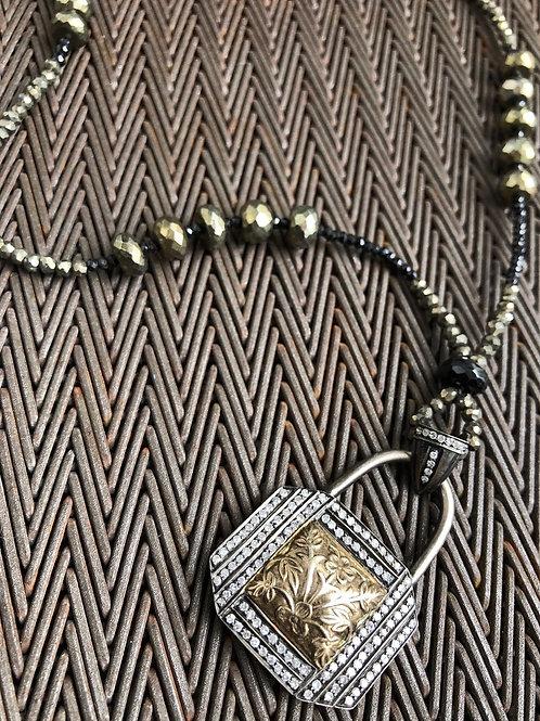 LOCK pendant diamonds & pyrite brass necklace