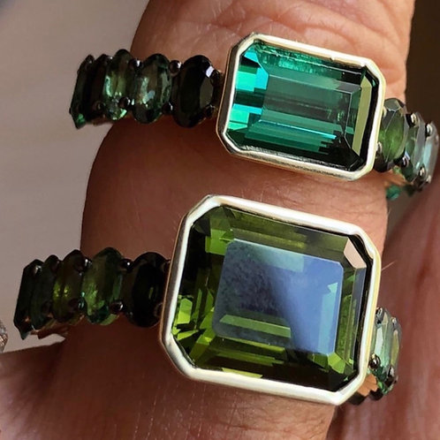 Green gold and tourmaline rings