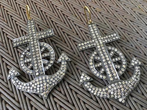 Diamond Anchor Earrings