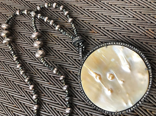 Mother of Pearl with diamonds & pyrite  silver necklace