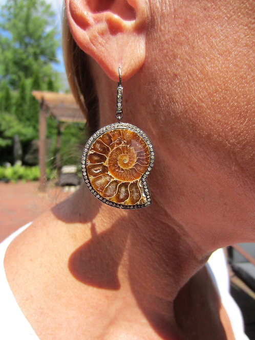 Fossil & Diamond Earrings