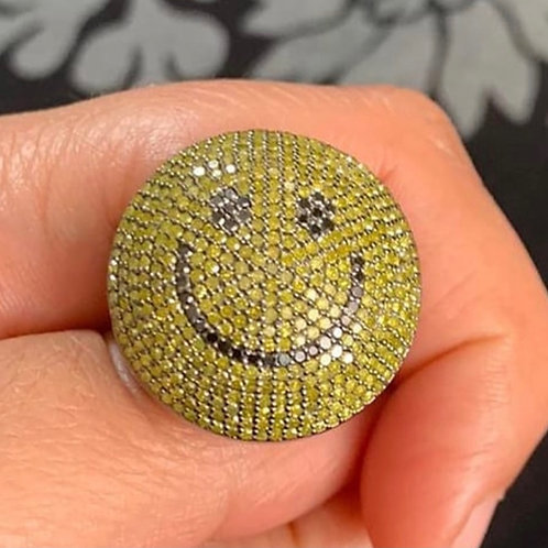 Smile ring Yellow and black diamonds , silver
