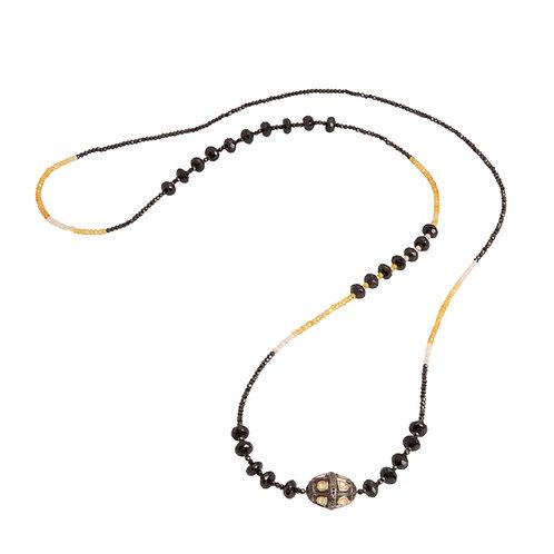 Rose Cut & Pave Diamond Focal Bead Necklace