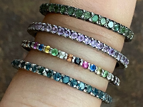 Blue, green and green rings- silver and sapphires