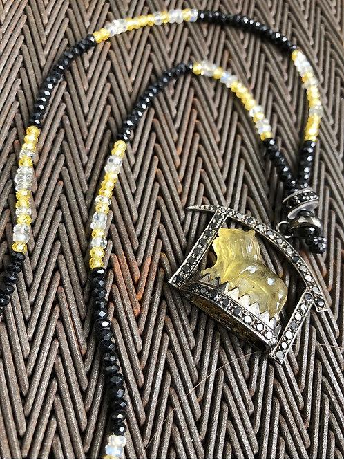LION amber pendant diamonds & jet sapphire