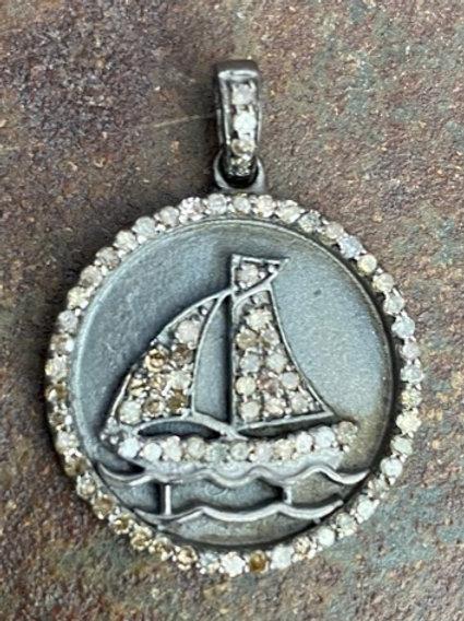 SHIP Diamond & Silver Charm