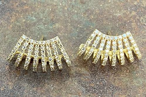 Diamond & 14kt gold Huggie earrings
