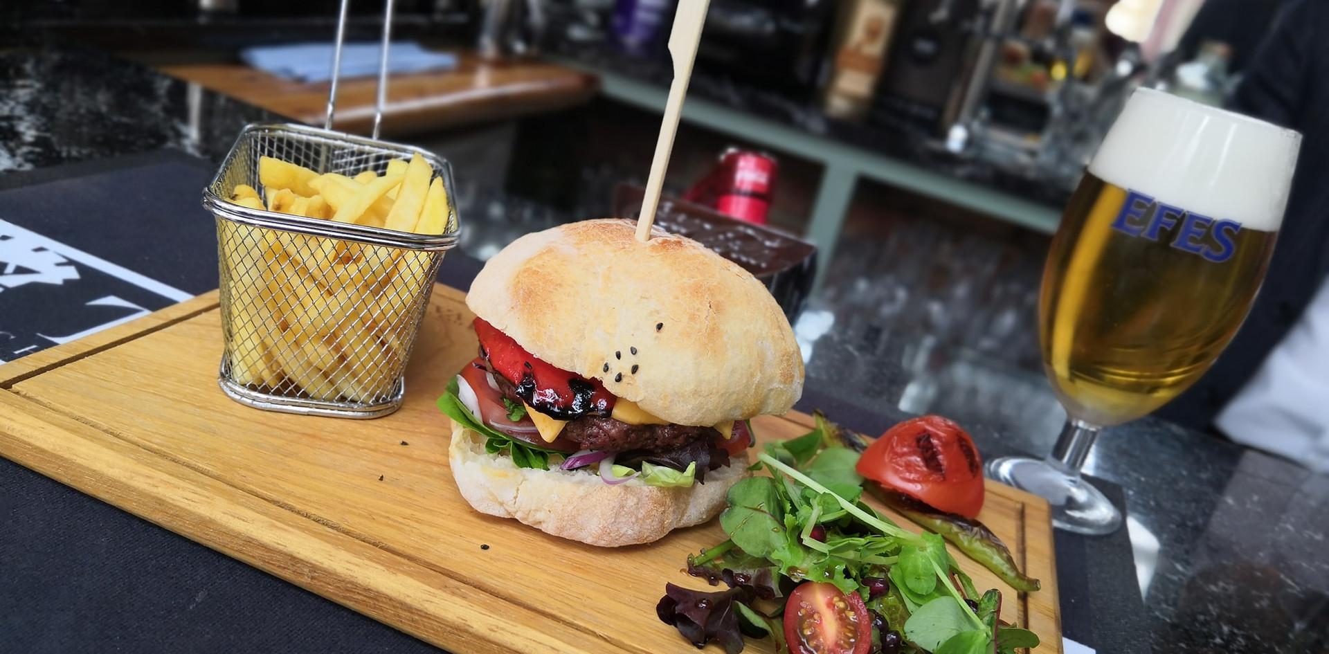 Truva Mome made burger and Efes.jpg