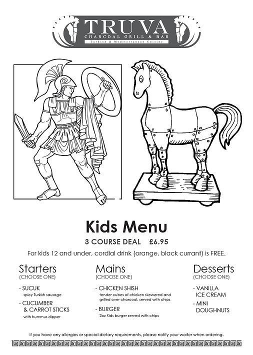 truva kids menu towcester