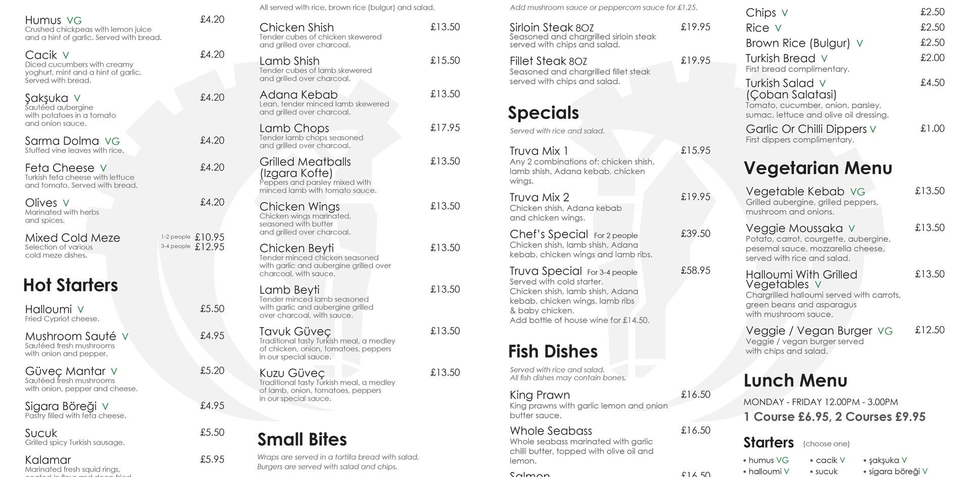 truva table menu