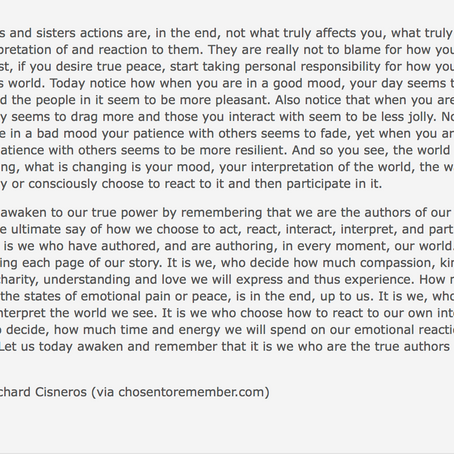 You Are the Author of Your World