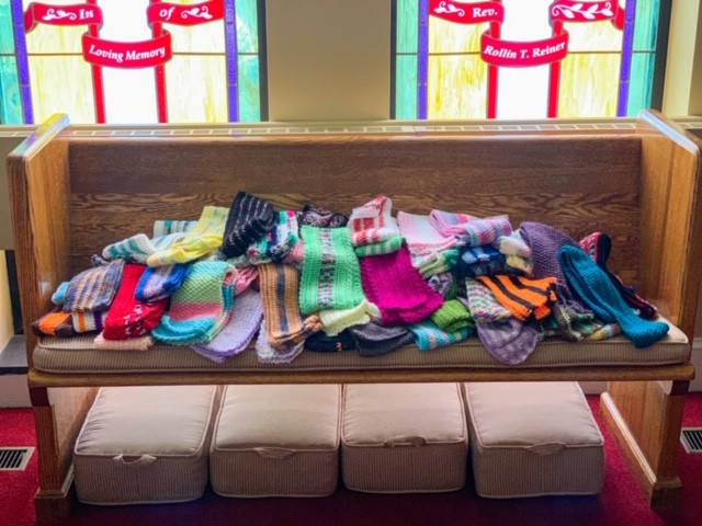 Just some of the beautiful scarfs made by Mary Lou Hutchison.
