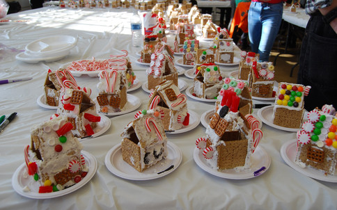 A few of the beautifully decorated gingerbread houses!