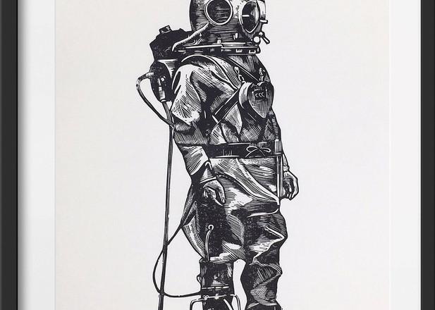 Amy Cundall - Framed linocut Deep sea diver