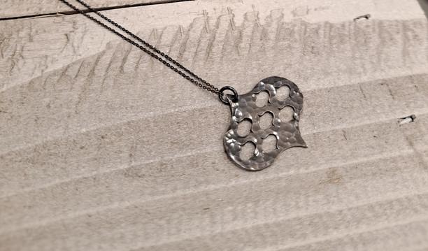 Caroline Draper - Jali pendant and chain in oxidised silver