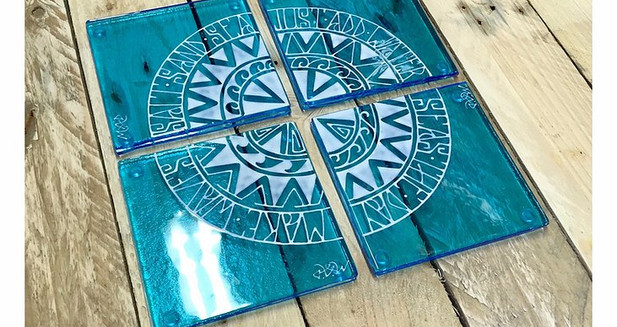 Mother & Daughter Glass - Polynesian words coasters