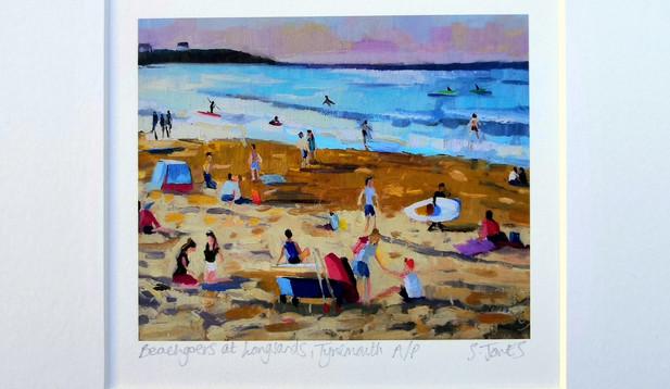 Stuart Jones - 'Beachgoers at Longsands' mounted giclee print
