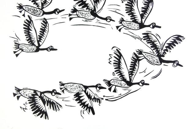 Melanie Wickham - 'Flapping Geese' Limited Edition Lino Print