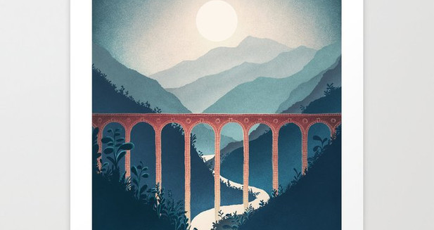 David Fleck Illustration - Indigo valley A3 print