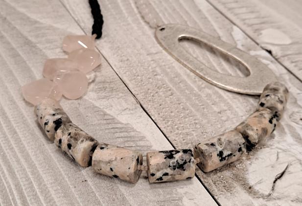 Mellisa James Jewellery - Granite, rose quartz, antique silver oval, lavalstone necklace