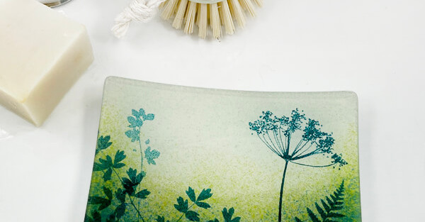 Colette Halstead glass soap dish with hedgerow design on green background