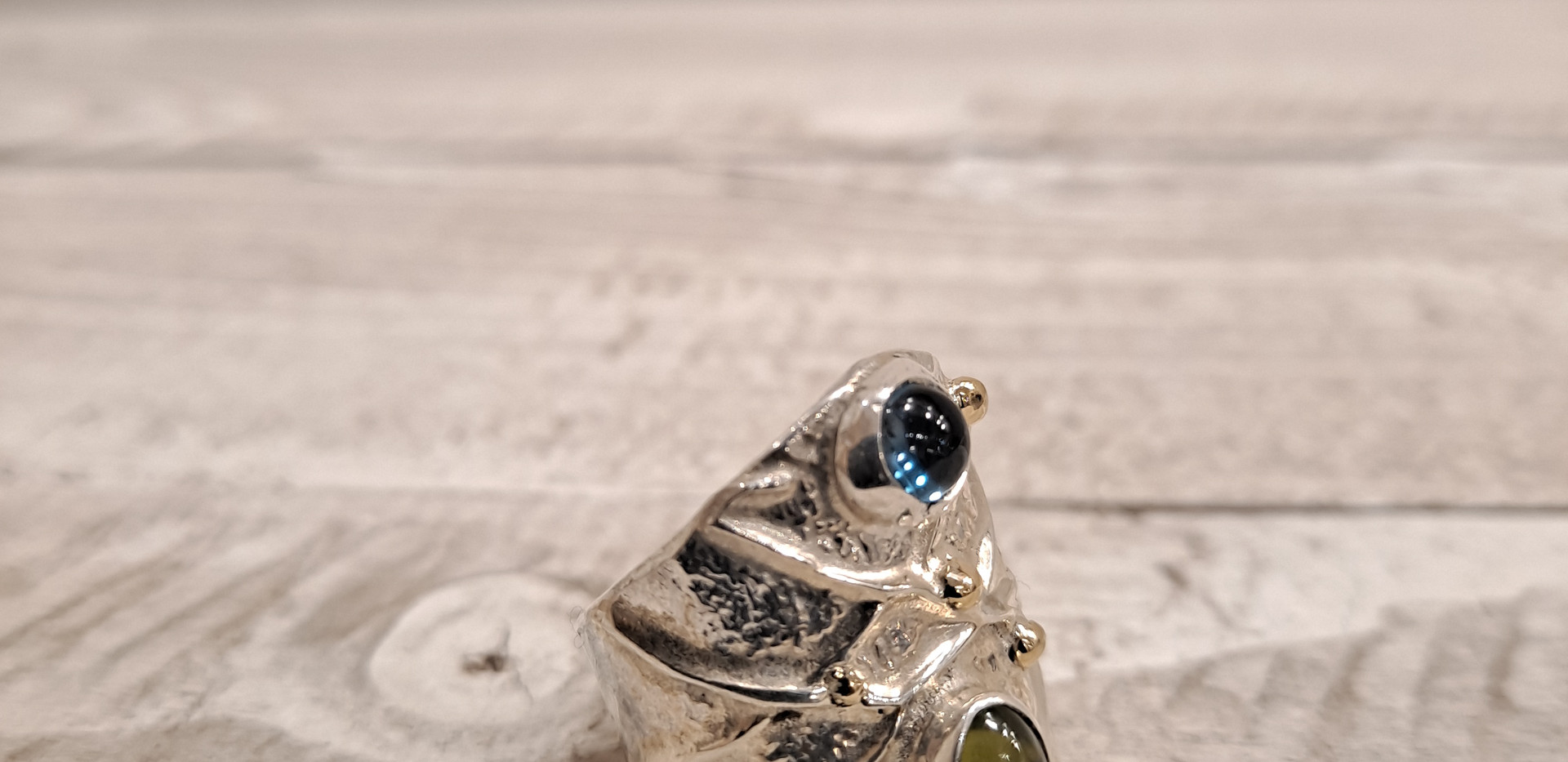 Sally Ratcliffe - Cascade ring with ball design and gemstones