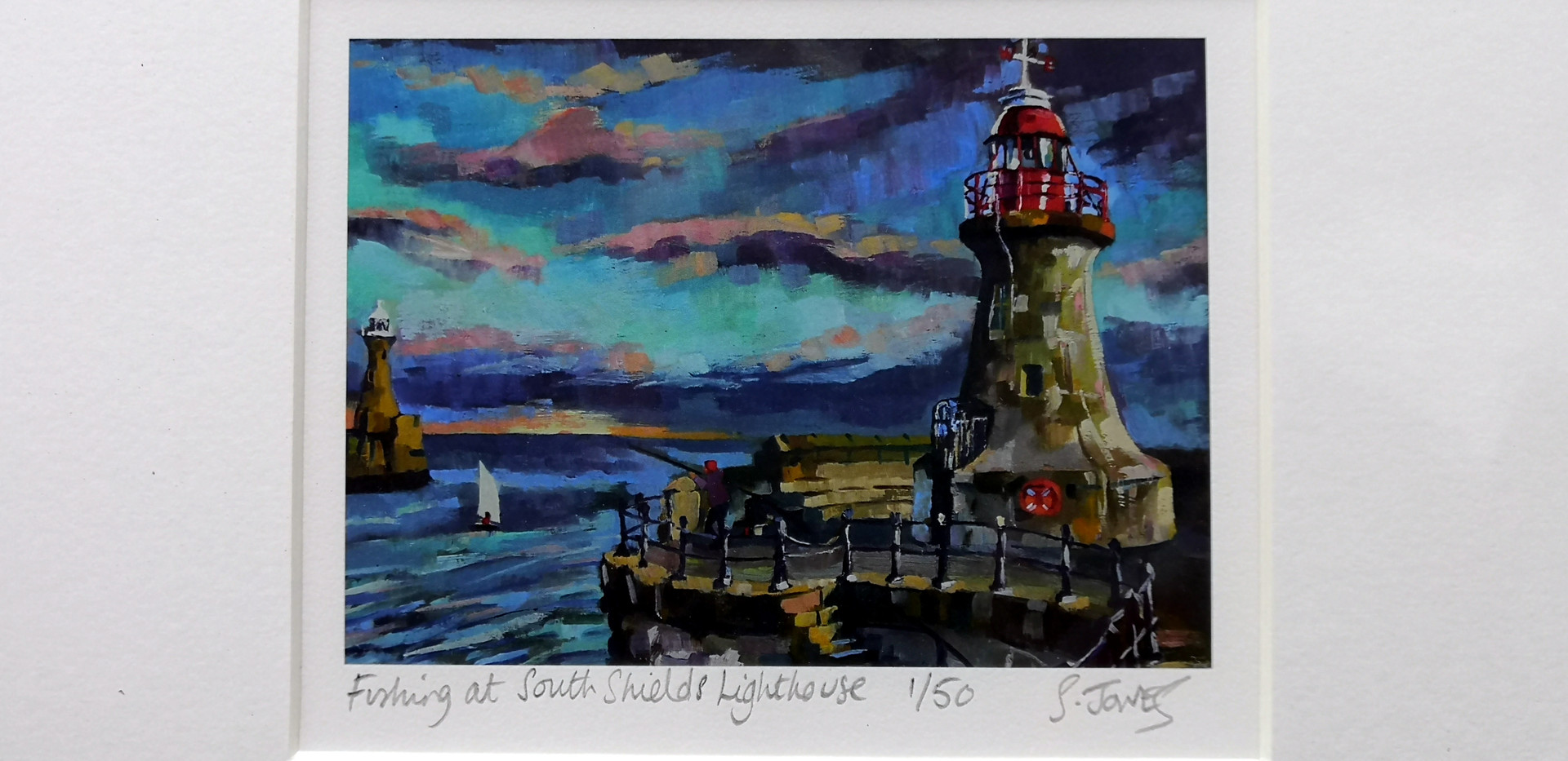 Stuart Jones - 'Fishing at South Sheilds Lighthouse' mounted giclee print