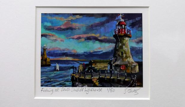 Stuart Jones - 'Fishing at South Sheilds Lighthouse' mounted giclee print
