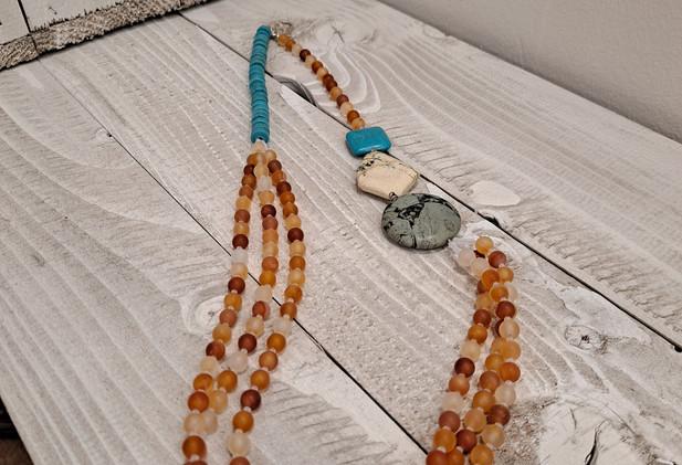 Mellisa James Jewellery - Matt carnelian, turquoise, brecciated jasper, yellow jasper necklace