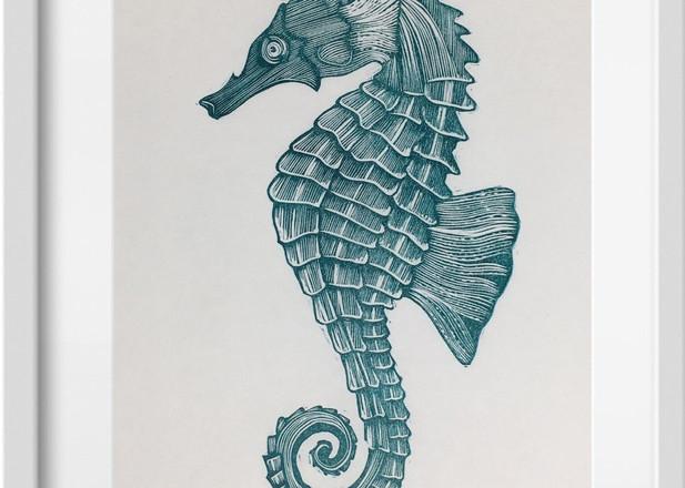 Amy Cundall - Framed linocut Seahorse~