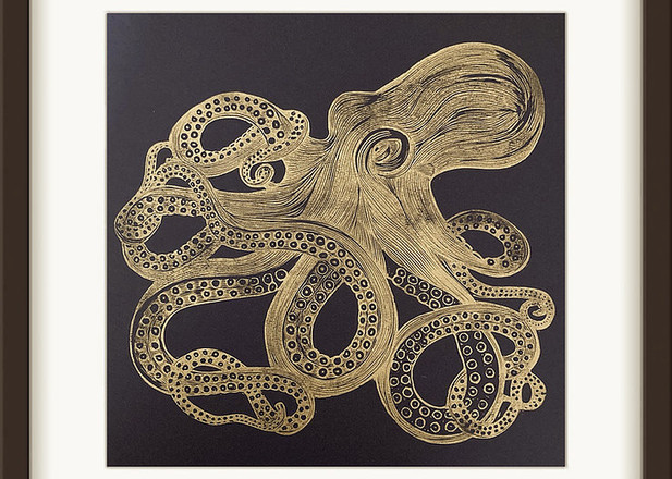 Amy Cundall - Lino Print 'Octopus' in Gold on Navy