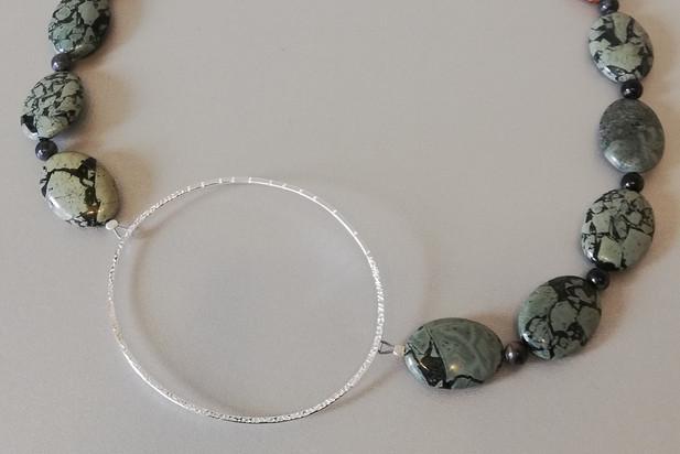 Louise Howitt - Breccia necklace - silver, green brecciated jasper, picasso jasper and palmwood.