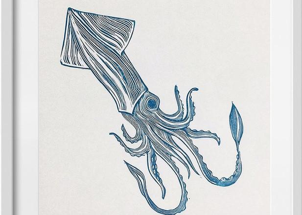 Amy Cundall - Framed linocut Squid