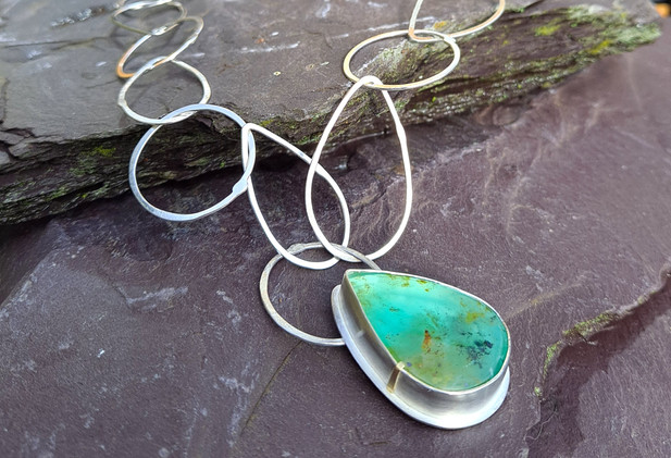 Silver tear and circle silver necklace with large Peruvian blue opal