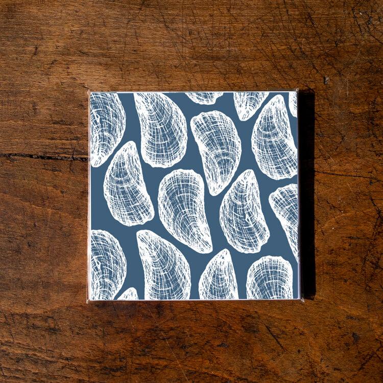 Ellie Davidson-Archer - Mussel shell ceramic coaster pack of 4 (Blue)