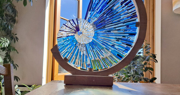 Mother & Daughter Glass - Large 'Nautilus' fused glass sculpture in wooden frame