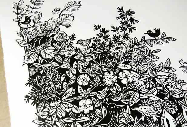 Melanie Wickham - 'Hedge' Limited Edition Lino Print