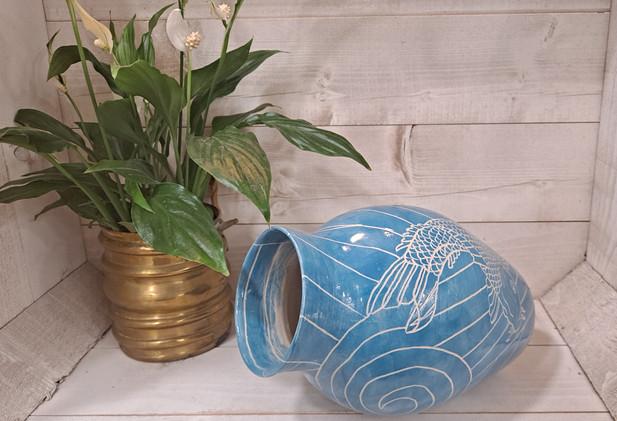Emma Puddick - Sgraffito Koi Vase in blue
