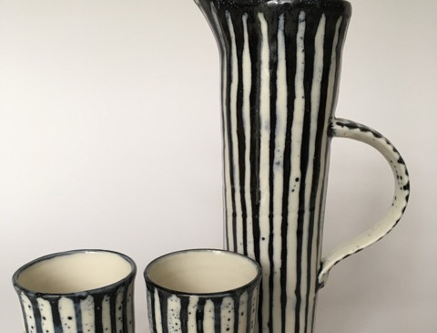 George Omerod - Stripe B&W Water Jug