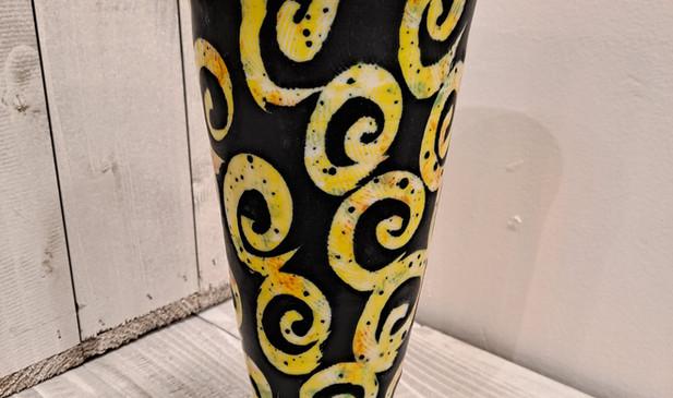 """George Omerod - Yellow Arabesque 10"""" Vase"""