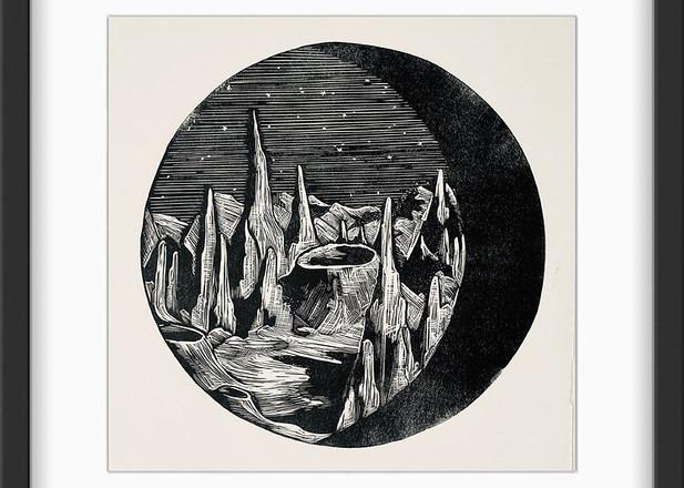 Amy Cundall - Framed linocut Moonrocks~