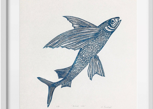 Amy Cundall - Framed linocut Flying fish