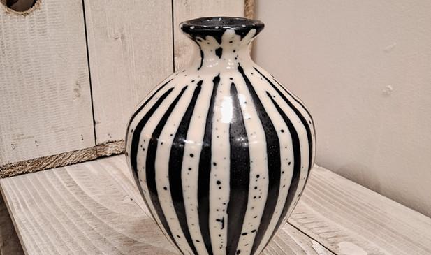 George Omerod - Stripe B&W Small Round Vase