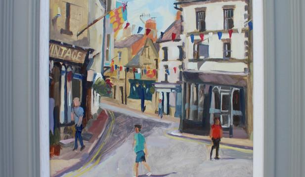 Stuart Jones - 'Bunting over Marketplace, Hexham' framed original painting