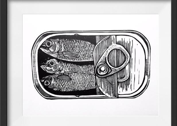 Amy Cundall - Framed linocut Tin of sardines