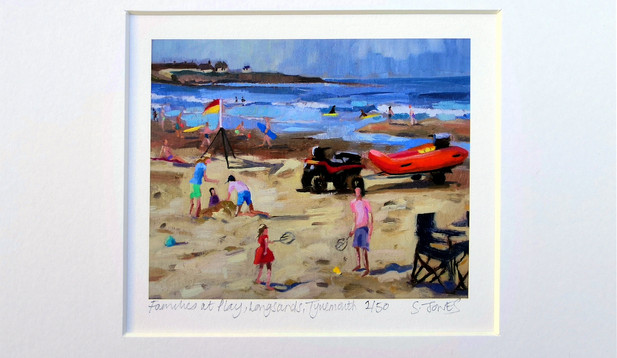 Stuart Jones - 'Families at Play, Longsands' mounted giclee print